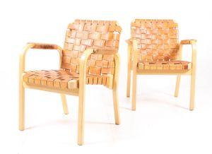 Modell 45 Armlehnstühle von Alvar Aalto für Artek, 1950er, 2er Set