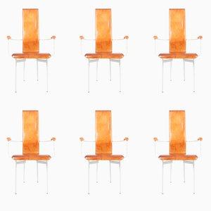 Italienische Leder Esszimmerstühle von Giancarlo Vegni & Gianfranco Gualtierotti für Fasem, 1980er, 6er Set
