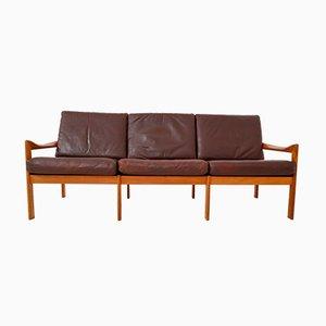 Sofá de tres plazas de teca de Illum Wikkelsø para Niels Eilersen, años 60