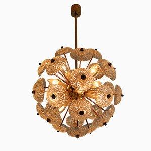 Lampadario Mid-Century floreale in ottone