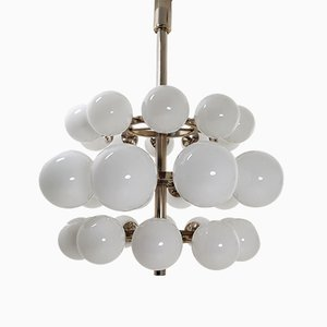 Large Chandelier with 30 Handblown Opaline Glass Globes, 1960s