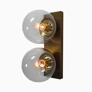 Double Brass Wall Sconce with Hand Blown Glass Globes, 1960s
