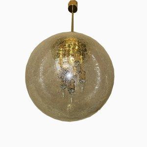 Große Milchglas und Messing Globe Hängelampe von Doria Leuchten, 1960er