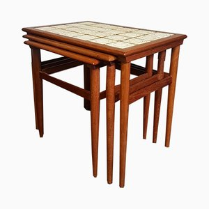 Vintage Danish Teak & Tile Nesting Tables, Set of 3