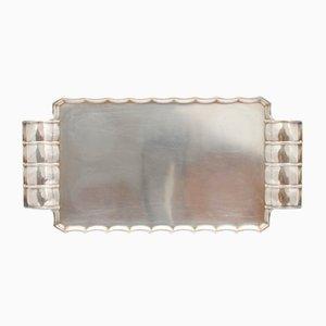 Bandeja Art Déco bañada en plata de Sandrik, años 30