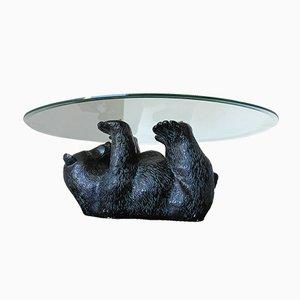 Mesa de centro escultural con oso negro, años 70