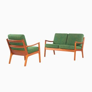 Senator Series Teak 2-Seater Sofa & Lounge Chair by Ole Wanscher for Cado, 1960s