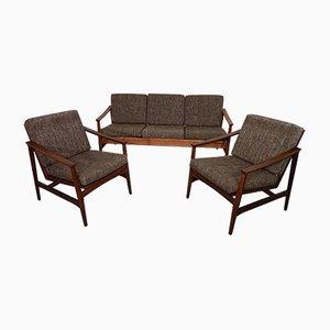 Sofa & 2 Lehnstühle aus Teak von Thonet, 1950er
