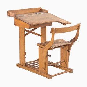Antique Adjustable Beech Wood School Desk