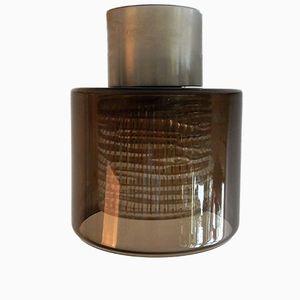 Mid-Century Deckenlampe aus braunem & klarem Glas