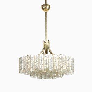 4-stufiger Kronleuchter aus Glas mit goldenen Einschlüssen & Messing von Doria