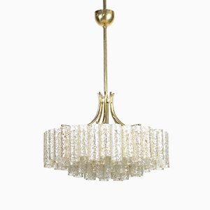 4-Tier Chandelier in Glass with Gold Incrustations & Brass from Doria