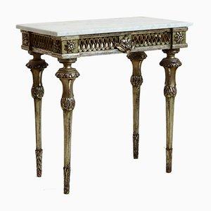 Mesa consola italiana antigua con tablero de mármol