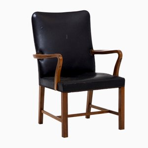 Danish Leather & Mahogany Armchair by Jacob Kjær, 1960s