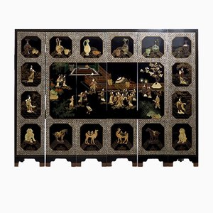 Antique Screen in Lacquer with Inlaid Gems & Jade
