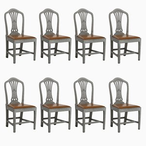 19th Century Gustavian Style Chairs, Set of 8