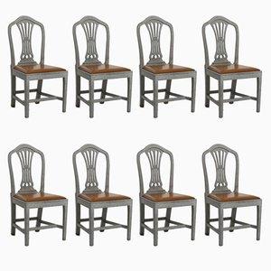 Chaises Style Gustavien 19ème Siècle, Set de 8