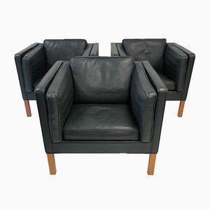 Dänische Armlehnstühle aus Leder von Børge Mogensen für Fredericia, 3er Set