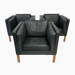 Vintage Danish Leather Armchairs by Børge Mogensen for Fredericia, Set of 3