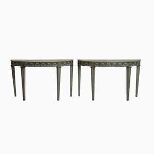 Halbrunde Tische mit Verzierungen aus 19. Jh., 2er Set