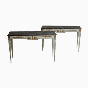 19th-Century Swedish Console Tables with Guilted Decorations & Painted Faux Marble Top, Set of 2