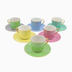 Tazas de café de porcelana de colores de Epiag, años 60. Juego de 6