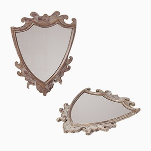 Silberne Vintage Spiegel in Wappenform, 2er Set