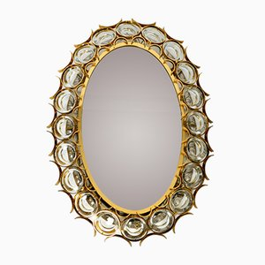 Large Oval Backlit Wall Mirror with Heavy Brass Frame & Crystal Stones from Palwa, 1960s