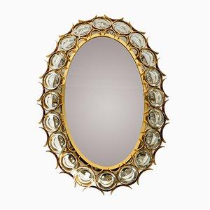 Specchio ovale da parete con cornice in ottone con cristalli di Palwa, anni '60
