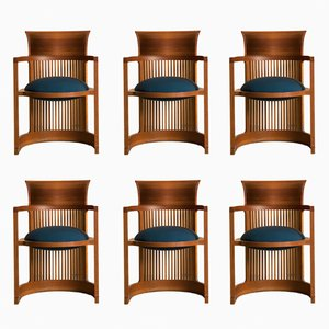 Taliesin Barrel Chairs by Frank Lloyd Wright for Cassina, 1980s, Set of 6