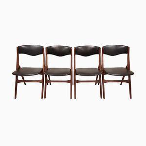 Dänische Mid-Century Stühle aus Teak und Kunstleder, 1960er, 4er Set