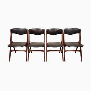 Mid-Century Danish Teak and Leatherette Chairs, 1960s, Set of 4