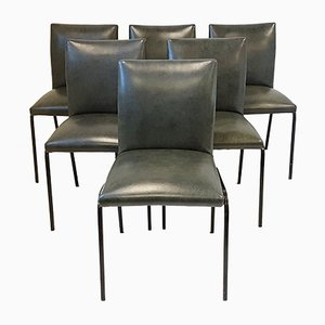 Mid-Century Steel and Leatherette Chairs by Pierre Guariche for Meurop, 1960s, Set of 6