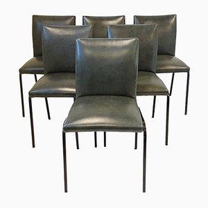 Mid-Century Stühle aus Stahl und Kunstleder von Pierre Guariche für Meurop, 1960er, 6er Set