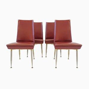 Französische Mid-Century Stühle aus Stahl und Kunstleder von Erton, 1950er, 4er Set