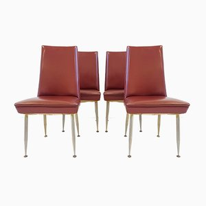 Mid-Century French Steel and Leatherette Chairs from Erton, 1950s, Set of 4