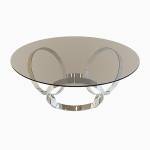 Space Age Glass and Chrome-Plated Three-Ringed Foot Coffee Table, 1970s