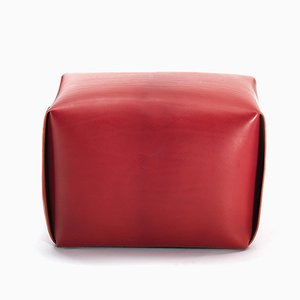 Red Leather Big Bao Ottoman by Viola Tonucci for Tonucci Manifestodesign