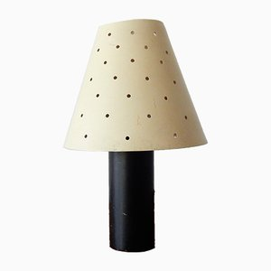 Small Vintage Black and Cream Metal Table Lamp