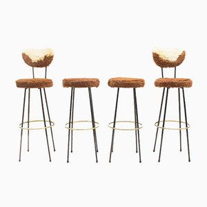 Mid-Century Longhair Cowhide Bar Stools, 1950s, Set of 4