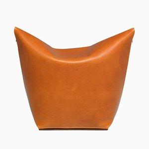 Pouf Poire Mao en Cuir Orange par Viola Tonucci pour Tonucci Manifestodesign