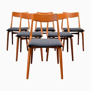 Chaises de Salle à Manger Boomerang N°370 Vintage en Teck par Alfred Christensen pour Slagelse Møbelværk, 1960s, Set de 6
