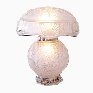 Weiße Art Deco Tischlampe von Muller Frères