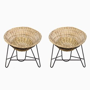 Rattan Wicker Armchairs, 1950s, Set of 2