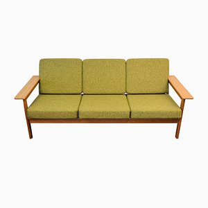 Vintage Oak 3-Seater Sofa by Børge Jensen for Jensen & Sønner
