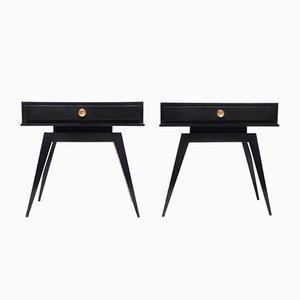 French Black Nightstands, 1940s, Set of 2