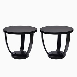 Bentwood Circular Black Side Tables from Fischel, 1930s, Set of 2