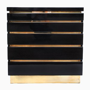 Black Lacquered Chest of Drawers by Jean Claude Mahey, 1970s