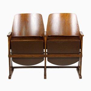Sillas de cine de dos asientos vintage de TON, años 60