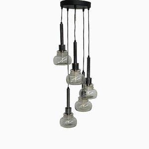 Lámpara colgante en cascada con cinco pantallas de vidrio, años 60